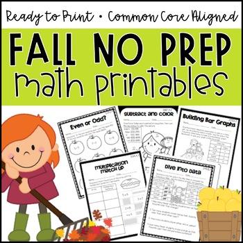 Fall NO PREP Math Printables (3rd Grade)