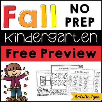 Fall NO PREP Printables Preview FREEBIE