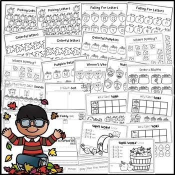 Fall NO PREP Printables for Kindergarten