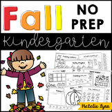 Fall No Prep Math and Literacy Worksheets for Kindergarten