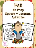 Fall NO PREP Speech & Language Activities