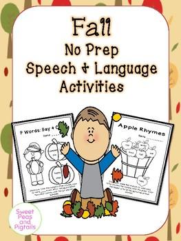 Fall NO PREP Speech & Language Activities