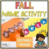 Fall Name Activity {EDITABLE FREEBIE}
