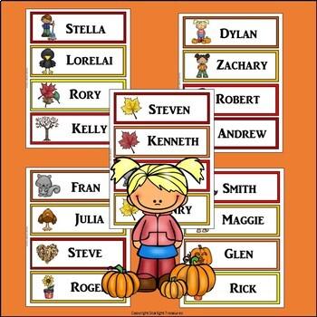 Fall Name Tags - Editable