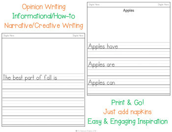 Fall Napkin Book Writing Prompts