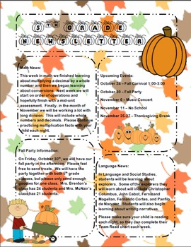 Fall Newsletter Template