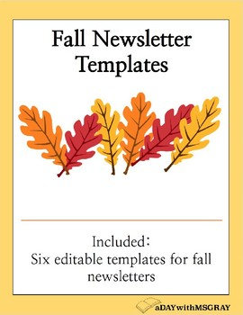 fall newsletter template by adaywithmsgray teachers pay teachers