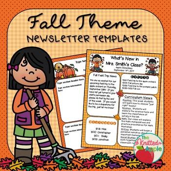 Fall Newsletter Templates By The Knitted Apple