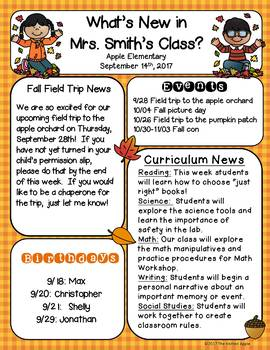 fall newsletter templates freebie by the knitted apple tpt