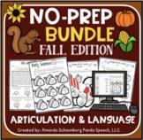 Fall No Prep BUNDLE: Speech & Language Activities (+ Digital Options)