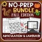 Fall No-Prep BUNDLE: Speech and Language Activities