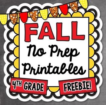 Fall No Prep Math Printables - 4th Grade FREEBIE