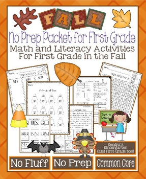 Fall No Prep Math and Literacy Packet for First Grade (Com