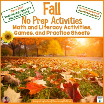 Fall No Prep Math and Literacy  Activities for Second Grade