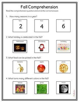 Fall Nonfiction Packet for Autism and Special Education