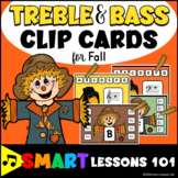 Fall Note Reading Clip Cards: Treble Clef Bass Clef Music Center Music Activity