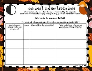 Fall Notice and Note Graphic Organizers