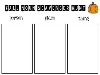 Fall Noun Scavenger Hunt