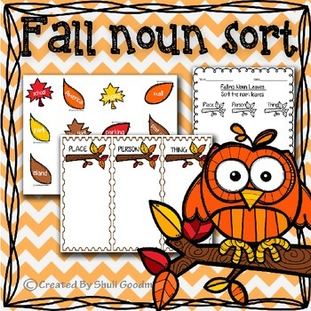 Fall Noun Sort. Thing, Place or Person? Fall style center