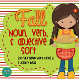 Fall Noun, Verb & Adjective Sort