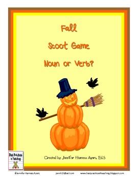 Fall Noun and Verb Task Cards