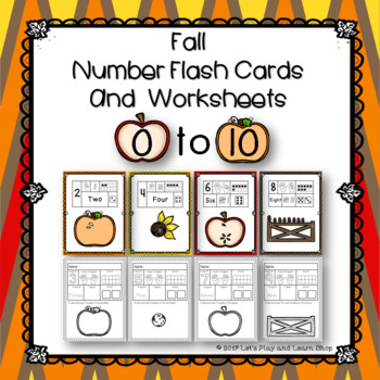 Fall Number Flash Cards and Worksheets for 0-10