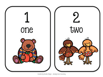 Fall Number Flashcards: Numbers 1-5