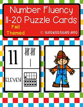 Fall Number Fluency Puzzle Cards | English | 11-20