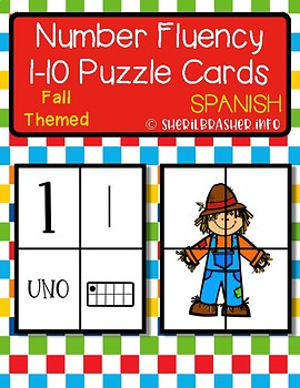 Fall Number Fluency Puzzle Cards | Spanish | 1-10
