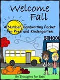 Fall Number Handwriting Packet, PreK and Kindergarten, Numbers 1-10