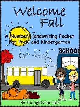 Fall Number Handwriting Packet, PreK and Kindergarten, Numbers 1-10