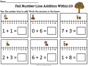 Number Line Addition & Subtraction Within 10 ~ Four Seasons Bundle