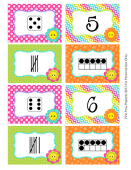 Spring Flowers Number Match Activity