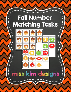 Fall Number Matching Folder Games for Early Childhood Special Education