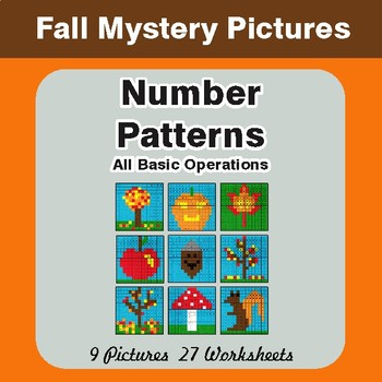 Fall: Number Patterns: Misc Operations - Color-By-Number Math Mystery Pictures