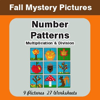 Fall: Number Patterns: Multiplication & Division - Math Mystery Pictures