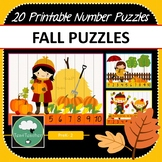 Fall Number Puzzles - 20 Preschool Autumn Puzzles 1-10 + Times Tables