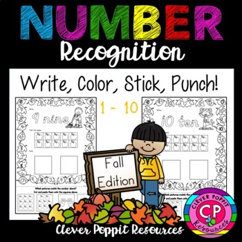 Fall Number Recognition 1-10 Write, Color, Stick, Punch!