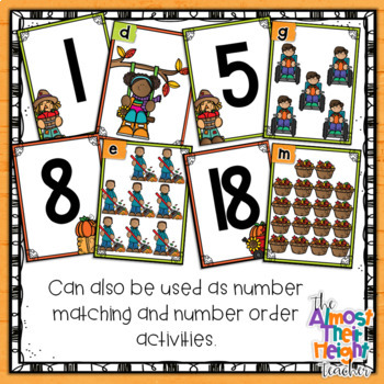 Fall Number Recognition 1-20 Scoot Activity, 10's frame & counting cards