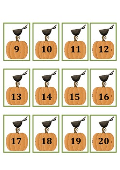 Fall Crow Number Sequencing From 1-20