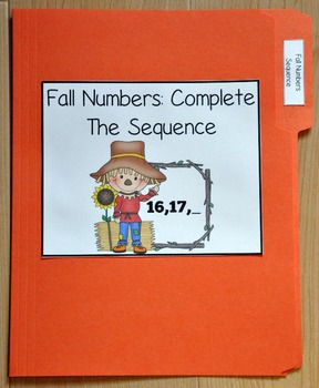 Fall Number Sequence File Folder Game