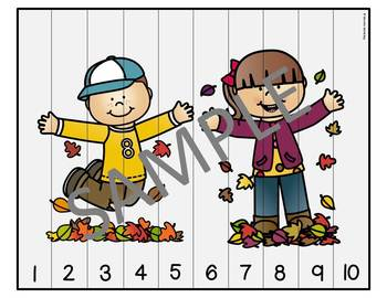 Fall Number Sequencing Puzzles
