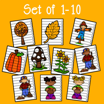 Fall Number Sequencing Puzzles - Set of 15
