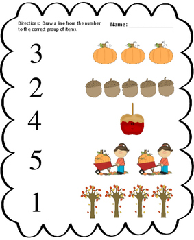 Fall Number to Quantity Matching Worksheet
