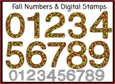 Fall Numbers 0-9 Clip Art and Digital Stamps