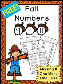 Fall Numbers 0 to 20 FREEBIE - Missing Numbers, One More, One Less