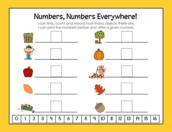 Fall Numbers 1-20: 12 Differentiated Common Core Centers and Activities