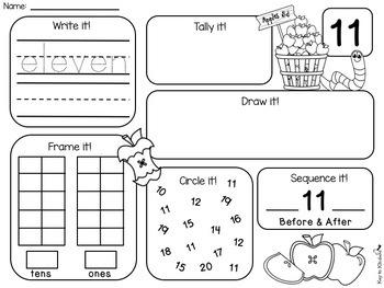 Fall Numbers 1-20 Practice Printables - NO PREP