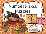 Numbers Sense 1-20 Puzzles - Fall Edition - Color and Blackline Masters!