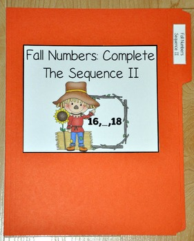 Fall Numbers:  Complete the Number Sequence II File Folder Game